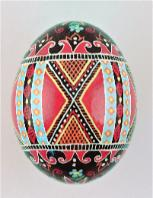 red, blue and green chicken ukrainian easter egg