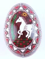 pink and purple with a white horse chicken ukrainian easter egg