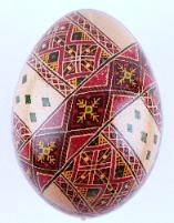 traditional red and brown chicken pysanka