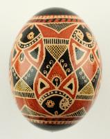 Black and Brown Fish Egg Pysanka, Ukrainian Easter Egg, Pysanky Egg made with Chicken Eggshell